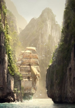 Ship behind the rocks